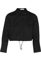 Alexis Monty Cropped Stretch Cotton Piqu And Eacute Shirt Black