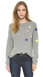 Chinti And Parker Slouchy Star Cashmere Sweater Grey Marl Multi
