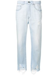 Genny Ripped Straight Leg Jeans Blue