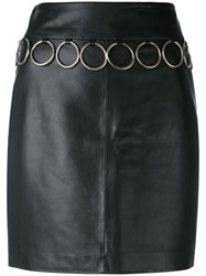 Jeremy Scott Leather Skirt Women Sheep Skin Shearling Polyester 42 Black
