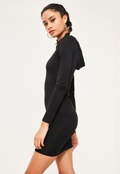 Missguided Black Hooded Jersey Bodycon Dress