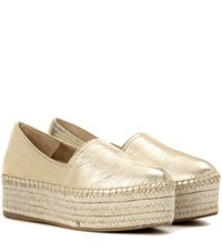 Miu Miu Metallic Leather Platform Espadrilles Gold
