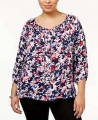 Ny Collection Plus Size Printed Peasant Top Navy Floral