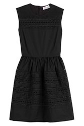 Red Valentino Cotton Dress With Embroidered Eyelet Trim Black