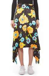 Topshop Women's Boutique Floral Handkerchief Hem Silk Skirt Black Multi
