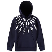 Neil Barrett Fair Isle Thunderbolt Hoody Blue