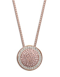 Lord And Taylor Sterling Silver Necklace With Vintage Rose And White Pave Crystal Circle Pendant