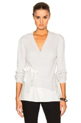 3.1 Phillip Lim Silk Combo Cardigan In White Gray White Gray