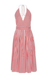 Mds Stripes V Neck Halter Dress Red