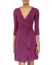 Diane Von Furstenberg Leopard Camo Wrap Dress Red