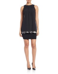 Betsy And Adam Sequined Mesh Overlay Dress Black Silver