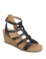 Aerosoles Sparkle Strappy Wedge Sandals Black