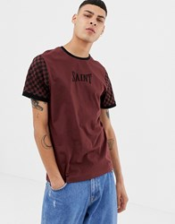 Brooklyn Supply Co. Co T Shirt With Checkerboard Contrast Sleeve Red