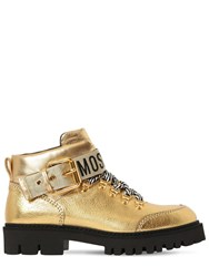 Moschino 40Mm Metallic Leather Ankle Boots Gold