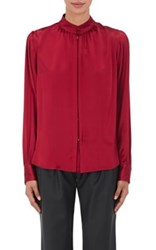 Maison Mayle Women's Silk Charmeuse Nehru Collar Blouse Red