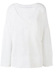 P.A.R.O.S.H. Chunky Knit V Neck Jumper Women Linen Flax Polyamide M White
