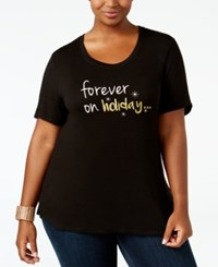 Ny Collection Plus Size Holiday Graphic T Shirt Black