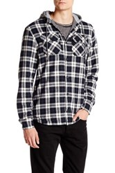 Globe Alford Contrast Hooded Plaid Shirt Blue