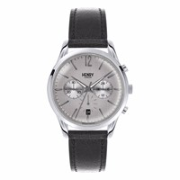 Henry London Unisex 39Mm Piccadilly Chronograph Leather Watch Grey Black
