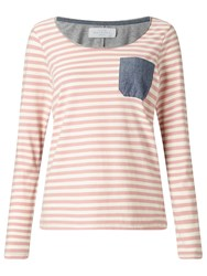 John Lewis Collection Weekend By Stripe T Shirt With Chambray Pocket Pink White