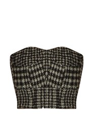 Raey Cropped Herringbone Corset Top Black