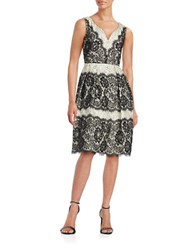 Ivanka Trump Lace Fit And Flare Dress Black Ivory