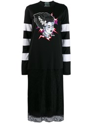 Prada Frankenstein Print Dress Black