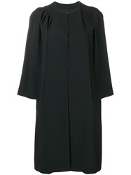 Genny Cropped Sleeve Single Breasted Coat Black