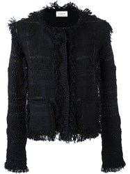 Lanvin Rough Edged Tweed Jacket Black