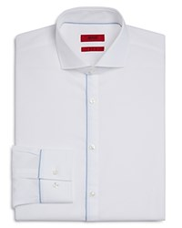Hugo Jimmy Outer Button Panel Slim Fit Dress Shirt White Navy