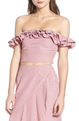 Wayf Anzio Off The Shoulder Ruffle Crop Top Red Stripe