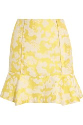 Michael Van Der Ham Silk Jacquard Skirt Yellow