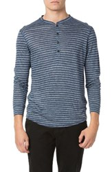 Good Man Brand Men's Stripe Linen Jersey Henley Navy Blue