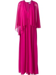 Msgm Tulle Pleated Cape Dress Pink And Purple