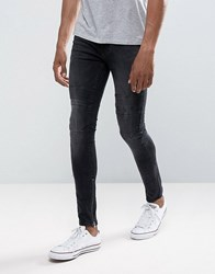 New Look Skinny Jeans With Rips And Zip Hem In Washed Black Black