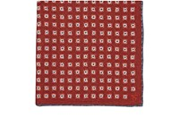 Isaia Men's Reversible Silk Pocket Square Red Grey White