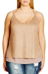 City Chic Plus Size Women's Faux Suede Layered Camisole Stone