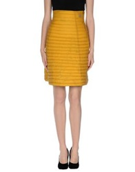 Douuod Knee Length Skirts Ocher
