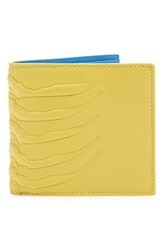 Alexander Mcqueen Rib Cage Bifold Leather Wallet Yellow