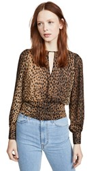 Good American Leopard Keyhole Blouse