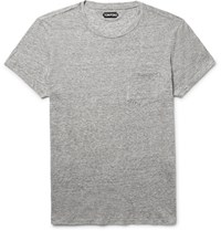 Tom Ford Slim Fit Melange Cotton And Cashmere Blend T Shirt Gray