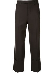 Raf Simons Cropped Tailored Trousers Brown