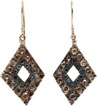 Fabrizio Riva Brown And Blue Diamond Drop Earrings Colorless