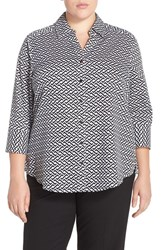 Plus Size Women's Foxcroft 'Optic Status' Print Wrinkle Free Shirt