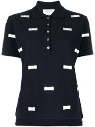 Thom Browne Bow Embroidery Polo Blue