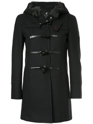 Loveless Hooded Duffle Coat Wool Nylon Black