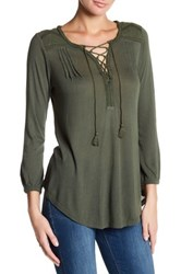 Lucky Brand Lace Up Peasant Blouse Green