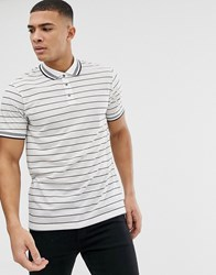Burton Menswear Polo In Ecru And Navy Stripe