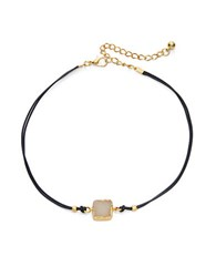 Design Lab Lord And Taylor Druzy Pendant Corded Choker Necklace Ivory