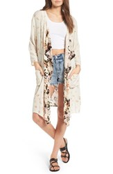 Band Of Gypsies Women's Poinsettia Floral Kimono Cream Black
